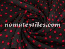 Штапель горох чёрный фон-красный горох 10мм